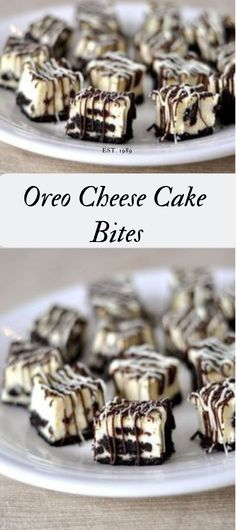 Oreo Cheesecake Bites These Oreo cheesecake bites are like little bites of heaven. Cheesecake Bites – Food RPuff pastry bites from deThe BEST No-Bake Oreo Che Brownie Desserts, Easy Desserts, Delicious Desserts, Yummy Food, Oreo Dessert Recipes, Cheesecake Desserts, Bite Sized Desserts, Healthy Food, Raspberry Cheesecake
