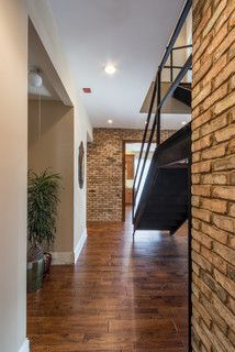 New floating wood floor, and Industrial Style Stairs.