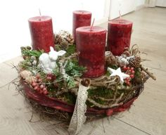 Advent Wreath - Advent Wreath Red - a unique product by Perla-Polarstation bei . Centerpiece Christmas, Christmas Advent Wreath, Xmas Decorations, Winter Christmas, All Things Christmas, Christmas Time, Holiday, Christmas Wonderland, Latest Fashion