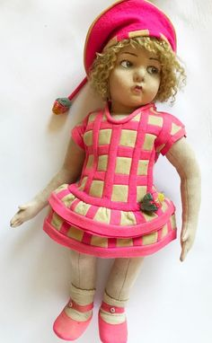 """Antique 109 Series Lenci Doll 22"""" 1925 Original Outfit Turin Italy"""
