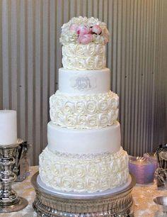 Rosettes and diamond wedding cake ~ all edible.