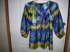 Gorgeous Investments II Multi-Color Peasant Top Size 18W NWOT Silky and Elegant #InvestmentsII #Peasant #Casual