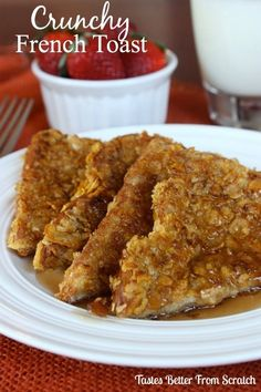 Crunchy French Toast - VERY GOOD!  Don't let the simple ingredients fool you...this is a great twist on the normal French toast recipe. This is the exact recipe for the French toast I had while staying at a hotel for the State Mothers of a Multiples Convention. So glad I found the recipe. They served theirs with fresh strawberries soaked in syrup. A definite keeper! *I used frosted flakes instead of corn flakes*