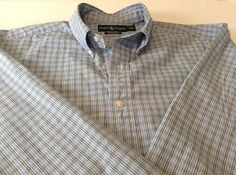 Ralph Lauren Large Mens Classic Fit Shirt Blue White Green Plaid Nice!                            $11.95 free ship