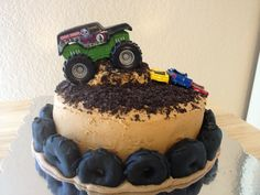 Monster Truck Birthday Cake Ideas : Monster Birthday Cakes for . Monster Truck Birthday Cake, Monster Truck Party, 3rd Birthday Cakes, Monster Trucks, Birthday Ideas, Happy Birthday, Birthday Parties, Monster Jam, Tire Cake