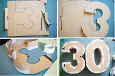 Discover recipes, home ideas, style inspiration and other ideas to try. 3rd Birthday Cakes, 30th Birthday Gifts, Birthday Parties, 30th Party, Diy Party, 3rd Year Anniversary Gifts, Cool Paper Crafts, Diy Letters, Cardboard Letters