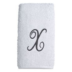 Avanti Embroidered Script Monogram Hand Towel, White