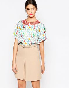 Manoush Arlequin Short Sleeve Arlequin Silk Twill Top