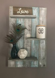 Teal and Gray Bathroom Lovely Teal and Gray Wall Shelf Wall Shelf Wall Decor Pallet Shelf Pallet Wall Shelf Bathroom Decor Bathroom Pallet Decor Bedroom Decor