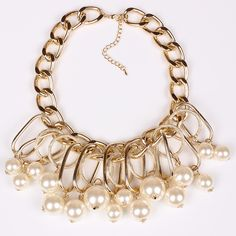 Alloy and Imitation Pearl Golden Exaggerated Women Ladies Necklace Jewelry Gift
