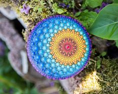 Sun & Moon - Mandala stone, hand painted - Mandala Stones