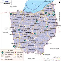 Ohio Latitude and Longitude Map | Lat Long of Ohio State, USA |Ohio State Capital Map
