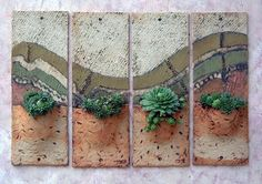 Wall Planters Description : 42cms h. x 16cms w. (each), Craft Crank, 1240°C