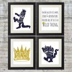 This where the wild things are Nursery art set includes an 8x10 print of Max with Let the wild rumpus start!, a golden crown with King of all