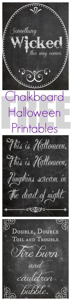 FREE Halloween Chalkboard Printables and a link to some cute Chevron Halloween printables too!