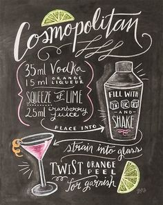 """Poster """"Classic Cocktails Fancy Cocktail"""" von Lily and Val, Retro-Werbung, Rezept Cosmopolitan Cocktail Cocktail Drinks, Alcoholic Drinks, Beverages, Gimlet Cocktail, Cocktail Ideas, Cocktail Sauce, Cosmopolitan Cocktail Recipes, Lily And Val, Chalkboard Print"""