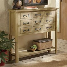 9-Drawer Skinny Wood Console