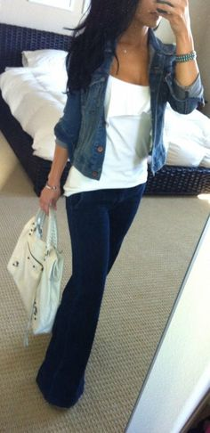 Dark touser jeans, slightly fitted tee or cami, lighter wash denim jacket, white handbag