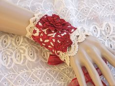 Victorian Lace Wrist Cuff Bracelet - Red and Ivory Flower Wrist Cuff, Victorian Jewelry, Upcycled Jewelry. $25.00, via Etsy.