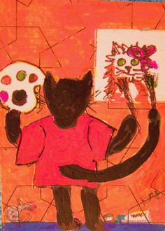 ACEO Original Artisto-CAT BOY mixed media cat-toon Artists & CATS  The original Artisto-Cat, working on one of his paintings! sold on eBay