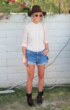 Coachella: Julianne Hough made an appearance in denim shorts, a silk cream blouse, cowboy boots, and a matching hat.
