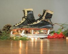 Rustic holiday home decor from High Desert Dry Goods Vintage Leather, Black Leather, Dry Goods, White Trim, Ice Hockey, Ice Skating, Skates, Holiday Decor, Rustic
