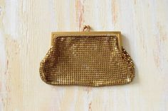 Whiting and Davis Art Deco Mesh Clutch | 1920's Gold Clutch by GracedVestige on Etsy
