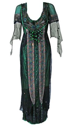 Fashion and Costume History | ephemeral-elegance: Peacock Embroidered Tea Gown, 1912