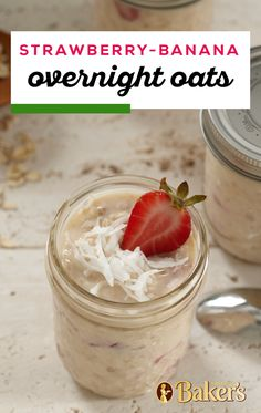 Start the day with important food groups with Strawberry-Banana Overnight Oats. These Strawberry-Banana Overnight Oats are low in fat, high in calcium. High Protein Snacks, Healthy Snacks, Sweet Breakfast, Breakfast Time, Breakfast Recipes, Protein Shakes, Low Carb Recipes, Cooking Recipes, Breakfast Smoothies