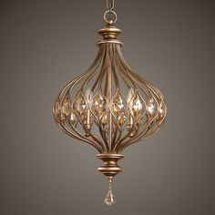 Sabina 3 Light Pendant (Gold) Uttermost in Pendant Lighting. Onion dome shaped wire cage in burnished gold metal with golden teak cut crystal accents inset in the wire body. Ceiling Light Fixtures, Pendant Light Fixtures, Ceiling Lights, Gold Ceiling, 3 Light Pendant, Gold Pendant, Crystal Pendant Lighting, Copper Lighting, Uttermost Lighting