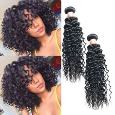 "Brazilian 14"" 300g 100% Human Hair Extension 1b# Curly Wave Hair Weave Weft #Unbranded"