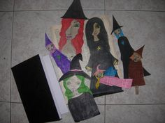 Halloween Art Kit  7 PAPER DOLLS Witches and a black by eltsamp, $53.00