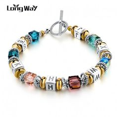 $6.99 Silver Square Colorful Murano Crystal Beads Bracelet for Women