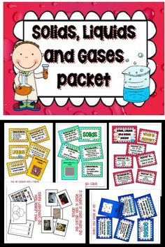 A great Packet to support your teaching of Matter - solids liquids and gases. Included in this packet are 49 pages of charts to display on a working science wall, facts about each state of matter, picture charts to sort and display, worksheets to cut and paste, picture sorts and a Venn diagram to compare each state of matter.  The preview file shows the completed set, however there are many more picture charts which I didn't include in the preview. Thanks for viewing and/ or purchasing..