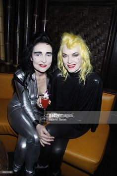 Siouxsie Sioux with Pam Hogg at her after party at 'Mahiki Bar' London. on February 22, 2010.