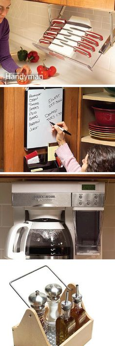 9 ideas for getting kitchen clutter off the counters: Clean up your countertops with under-cabinet appliances, hidden storage and other space saving ideas. http://www.familyhandyman.com/kitchen/storage/organizing-kitchens-and-clearing-the-clutter/view-all
