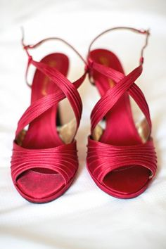 Multicultural Maryland Wedding Red Bridal Shoes