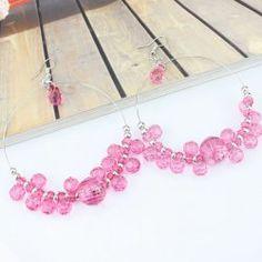Rose rouge alliage + boucles d'oreilles perles acryliques