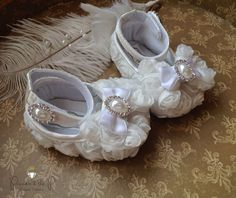 White Satin Rosette Baby Shoes w Pearl & by PrincessAndThePbaby, $21.95