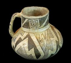 Black on White Pottery  285. Description: Prehistoric polychrome black-on-white pitcher. The pitcher measures approximately 5 tall x 5 diameter. Some wear and fading, minor chips, no cracks to speak of, overall good condition. Weighs about 1 pounds.  The Anasazi (Ancient Ones), thought to be ancestors of the modern Pueblo Indians, inhabited the Four Corners country of southern Utah, southwestern Colorado, northwestern New Mexico, and northern Arizona from about A.D. 200 to A.D. 1300…