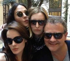 "Lady Mary, Edith and their dad hanging out with their dead sister (RIP Sybil): | 29 Photos Of The Cast Of ""Downton Abbey"" Being Totally Un-Downton-Like"