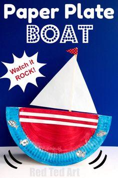 Rocking Paper Plate Boat Crafts for Kids Concept Of Quick Paper Plate Crafts. Paper Plate Art, Paper Plate Crafts For Kids, Crafts For Kids To Make, Paper Plates, Summer Crafts For Toddlers, Kids Diy, Make A Paper Boat, Transportation Crafts, Boat Crafts