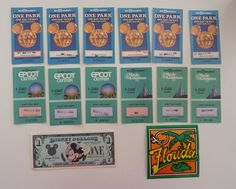Vintage Disney Dollar with Admission Tickets from 1989 & 1990 - Collectible Paper Ephemera Disneyana