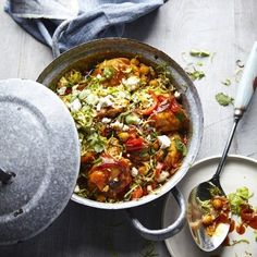 The Body Coach's Chicken tagine with spiced Brussels & feta Joe Wicks' Chicken tagine with spiced Brussels & feta is a new take on classic Christmas flavours and it's super healthy and really easy too. Bbc Good Food Recipes, Dinner Recipes, Cooking Recipes, Healthy Recipes, Easy Recipes, Joe Wicks Recipes, Tagine Recipes, Sprout Recipes, The Fresh