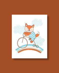 Fox Nursery Art Print Baby Fox Ride on a by HappyLittleBeans Fox Nursery, Nursery Wall Art, Art Wall Kids, Art For Kids, Large Prints, Fine Art Prints, Rainbow Nursery Decor, Fox Art, Baby Prints