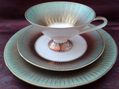 Rare S&C Bavaria, Elfenbein Porzellan collector's trio, around '30s-'50s (cup-saucer plate), porcelain, Sammeltassen golden+ green trimming