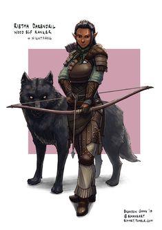 f Wood Elf Ranger Rietha Darendril w Wolf Nightfang Longbow