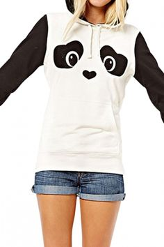 Mono Color Block Panda Print Hoodie with Fluffy Ear