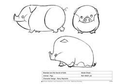 Living Lines Library: The Secret of Kells - Additional Characters: Animals Character Model Sheet, Cat Character, Character Design References, Character Concept, Concept Art, Animal Sketches, Animal Drawings, The Secret Of Kells, Pig Illustration