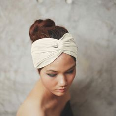 Off White Turban Twist headband Plain color by Rumraisina on Etsy, $12.95